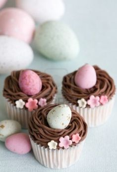 Egg Nest Easter cupcakes, Flower Decorated  Easter cupcakes, Easter Recipe For Kids#egg capecake#