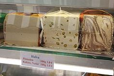 Halva-- (halawa, alva, haleweh, halava, helava, helva, halwa, halua, aluva, chalva) is any of various dense, sweet, Tahini based confections of Arabic origin,[1] served across the Middle East, South Asia, Central Asia, West Asia, North Africa, the Horn of Africa, the Balkans, Central Europe, Eastern Europe, Malta and the Jewish diaspora.