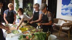 Spanish Cookery workshop in hotel courtyard on Yoga Breaks in Spain.  www.yogabreaks.org.uk