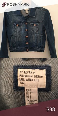 NWOT Forever 21 premium denim jacket size SM Never worn! I took the tags off and it was too loose in the shoulder/chest area. I really needed an XSM because I wanted it super fitted. This runs true to size. The color is beautiful and the denim is high quality. Forever 21 Jackets & Coats Jean Jackets