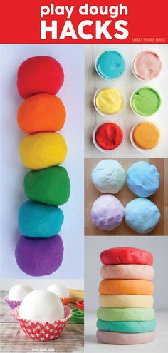 Check out the wonderfully bright colors on these DIY play dough hacks. The kids are going to love making homemade play dough. Craft Activities, Toddler Activities, Playdough Activities, Diy For Kids, Crafts For Kids, Silly Putty, Homemade Playdough, Do It Yourself Crafts, Crafty Kids