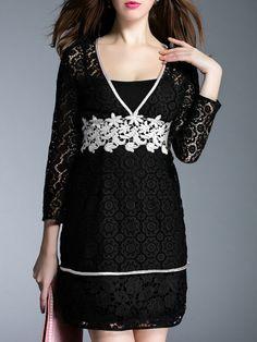 Black V Neck Crochet Hollow Out Dress
