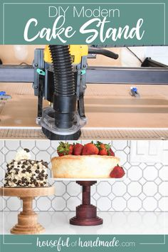Make these beautiful hardwood cake stands with the X-Carve CNC machine. A fun beginner CNC project w Wood Cake, Wooden Cake Stands, Cake Stands Diy, Diy Cnc Router, Cnc Woodworking, Woodworking Furniture, Cnc Maschine, Router Projects, Modern Cakes