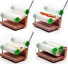 The Sushi Roller: Based on similar principles to cigarette rollers, this sushi roller opens and shuts at key points in the sushi-creation process and allows you to roll the ingredients in first and then add and roll in the seaweed wrap to complete your customized do-it-yourself sushi.