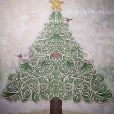 Christmas tree from Johanna's Christmas. I don't love it, but glad I finnished a pic this week. :) #jennychromosfinnished #coloriage #coloringbook #johannaschristmas #johannabasford #målarbokförvuxna #målarbok