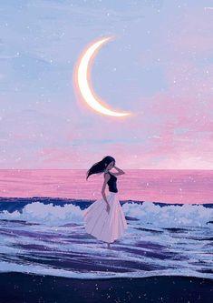 Joze Shimazaki Brilliantly Illustrates the Magic of Everyday Life. - Bulah - Joze Shimazaki Brilliantly Illustrates the Magic of Everyday Life. Joze Shimazaki Brilliantly Illustrates the Magic of Everyday Life. Et Wallpaper, Image Positive, Beach Drawing, Beach Illustration, Moon Lovers, Aesthetic Art, Aesthetic Wallpapers, Art Inspo, Art Girl