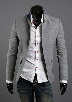 NYfashioncity Mens grey Jacket ... this screams Christian Grey!!!!! <3