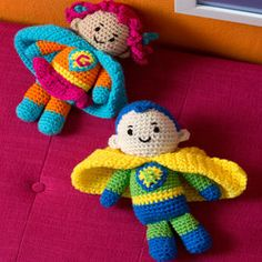 Boy and Girl Super Heroes - free crochet patterns