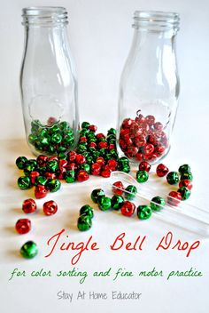 Jingle bell drop by Stay At Home Educator is a color sorting and fine motor activity for preschoolers.