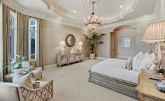 This Mediterranean style home is located at 12240 Tillinghast Circle in the Old Palm Golf Club in Palm Beach Gardens, FL and is situated on 1 acre of land. Dream Rooms, Dream Bedroom, Home Bedroom, Bedroom Decor, Master Bedroom, Home Design, Diy Design, Interior Exterior, Home Interior