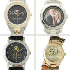 Personalized 50th wedding anniversary watches - Surprise your favorite couple with matching personalized watches for their 50th wedding anniversary gift!
