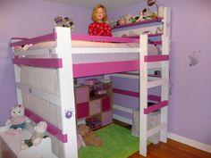 Bedroom Designs, Kids Loft Bed For Minimalist Look Bedroom : Girls Room Green Rug Purple Wall Wooden Floor, Bed Frame Bed For Girls Room, Small Room Bedroom, Bedroom Loft, Bedroom Girls, Loft Room, Trendy Bedroom, Small Rooms, Boys Loft Beds, Kid Beds