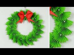 Learn to make easy Christmas wreath. It's great project for Christmas to decorate your home and New year tree. Diy Paper Christmas Tree, Paper Christmas Decorations, Cool Christmas Trees, Christmas Origami, Christmas Wreaths To Make, Paper Crafts Origami, Christmas Crafts, Christmas Ornaments, Paper Wreaths