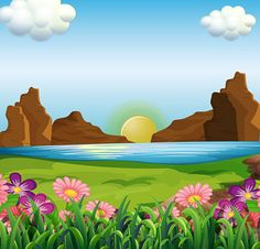 Seasons, seasons (vector collection of landscapes) Background Clipart, Cartoon Background, Safari Decorations, School Decorations, Art Drawings For Kids, Drawing For Kids, Boite Explosive, Boarder Designs, School Cartoon