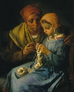 The Knitting Lesson by Jean Francois Millet
