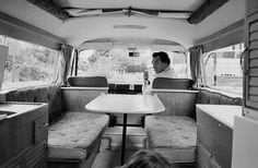 Amazing original pic of Commer Camper Van Interior - curtains with rails...
