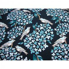 Baumwolljersey Blue Bird in blau Tönen limitierte Auflage Premium Collection