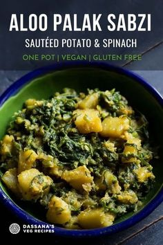 This one pot aloo palak sabzi or bhaji is a homely style dry potato spinach dish that goes very well as a side dish with rotis, chapatis or pooris. Aloo Palak Recipe, Sabzi Recipe, Veg Recipes, Mushroom Recipes, Potato Recipes, Sauteed Potatoes, Dried Potatoes, Vegan Vegetarian, Vegetarian Recipes