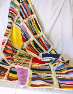 Your place to buy and sell all things handmade – Knitting Blanket 2020 Scrap Yarn Crochet, Crochet Quilt, Crochet Home, Crochet Stitches, Knit Crochet, Crochet Square Patterns, Afghan Patterns, Crochet Ideas, Knitted Afghans