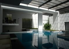 Tyagi's House by Ochre has skylit swimming pool
