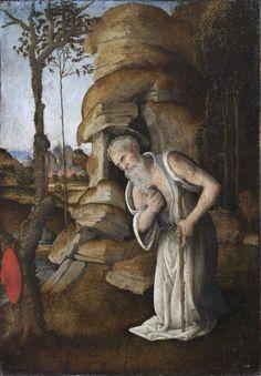 A bűnbánó Szent Jeromos a pusztában  Alkotó: Lippi, Filippino (Prato 1457 körül – 1504 Firenze)  Készült:1475–1480 körül