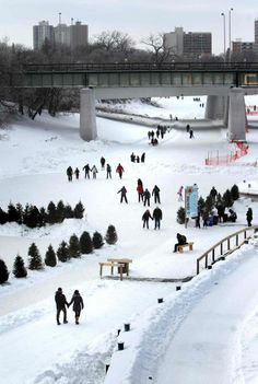 Winnipeggers embrace the winter by enjoying the Red River trail.