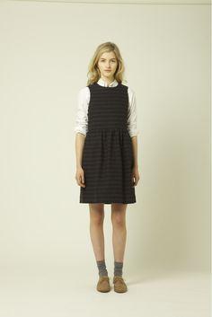 Tartan dress with shirt, socks and shoes.