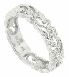 Delicate Blooming Vines Wind Around The Face Of This 14k White Gold Fl Wedding Band