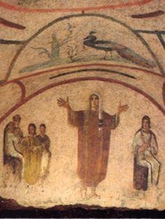 ***Donna Velata. Catacumba de Santa Priscila, S.III. Roma. Las orantes son imágenes paganas de la Piedad. Solían ser representadas en tamaño reducido, esquemáticas y alegres (extraño), aisladas en el centro de paredes y representaciones. Símbolo del alma de los fieles.