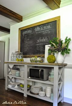 The Traveling Bench. by Dear Lillie *blank wall in the kitchen - Dining Room Kitchen Redo, Kitchen Remodel, Kitchen Dining, Kitchen Sideboard, Sideboard Table, Kitchen Storage, Kitchen Ideas, Diy Storage, Kitchen Buffet Table