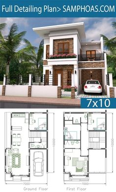 Duplex House Plans, House Layout Plans, New House Plans, Dream House Plans, House Layouts, Home Plans, Dream Houses, Two Story House Design, 2 Storey House Design
