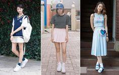 #skirt #sneakers #socks