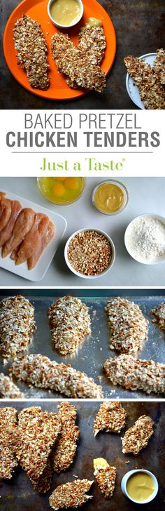 Baked Honey Mustard Pretzel Chicken Tenders recipe via justataste.com | A 30-minute dinner recipe for the whole family!