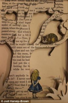 """Alice in Wonderland"" book sculpture. Medium: French second hand book ""Alice in Wonderland"" by Lewis Carroll. Alice in Wonderland book sculpture - close up Altered Books, Alice In Wonderland Book, Alice Book, Wonderland Party, Alice In Wonderland Illustrations, Pop Up Art, Book Sculpture, Paper Sculptures, Artists"