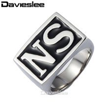 "US $5.63 Rock N' Roll Punk Black Silver Tone Carved Letter ""NS"" Mens Boys 316L Stainless Steel Signet Ring Wholesale Jewelry LHR182. Aliexpress product"