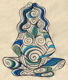 Stunning spiral earth/water Mother Goddess embroidery