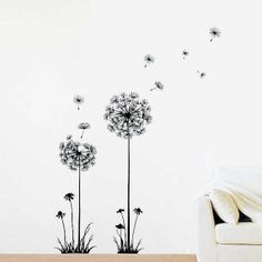 Dandelion wall decals Flower (black) removable wall art stickers
