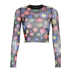Women Mesh Long Sleeve T Shirt Print Perspective O-Neck Bodycon Cropped Summer Streetwear Cropped Tee Shirt Femme Multi Sheer Mesh Top, Mesh Crop Top, Crop Tops, Mesh Tops, Mesh Long Sleeve, Long Sleeve Crop Top, Flower Power, Chica Punk, Looks Party