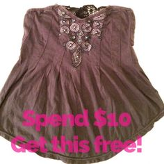 🆓Strapless Beaded Top Pre-loved lilac grey top. Cute embellishments and lace on the bust. Spend $10 get this free. One freebie per purchase. . YOU MUST LET ME KNOW WITHIN ONE HOUR OF YOUR PURCHASE IF YOU WOULD LIKE A FREEBIE! Blue Asphalt Tops