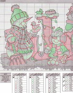 Snowmen JOY cross stitch pattern #1 - refer to dimensions thread conversion
