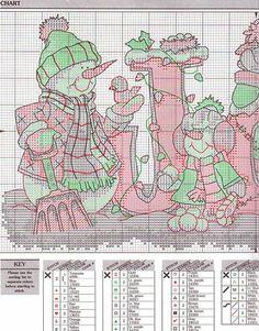 Snowmen JOY cross stitch pattern #1