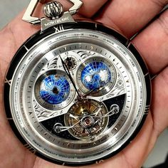 Chek out this awesome @montblanc pocket watch, named the Villeret Tourbillon Cylindrique. What do you guys think? Would you use a pocket watch, or do you think they are to big and out of style? by...