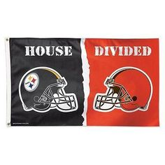 PITTSBURGH STEELERS CLEVELAND BROWNS HOUSE DIVIDED 3'X5' DELUXE FLAG WINCRAFT