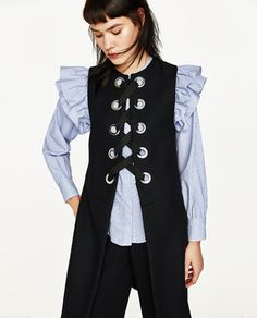 Image 2 of LONG WAISTCOAT WITH METALLIC DETAILS from Zara