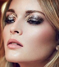PARTY PFERFECT HOLIDAY BEAUTY LOOK INSPIRATION EDITORIAL RED ONLINE UK Title: After Dark Photographer: Max Abadian Model: Olga Maliouk Styling: Alexandra Stedman Hair: Cryil Auchere GLITTER SEQUIN EYES EYESHADOW METALLIC EYES MASCARA ROSY BLUSH CHEEKS PINK LIPSTICK SPARKLE BEAUTY LOOK