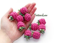 Raspberry crochet (1 pc) - berries crocheted - Raspberries - small Scullion…