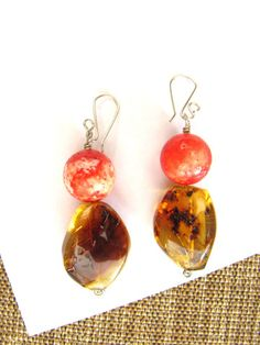 Coral and amber earrings made in Chiapas, Mexico