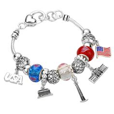 4th of July Bead Charm Patriotic USA Silver Tone Bracelet -- Want additional info? Click on the image. (This is an affiliate link and I receive a commission for the sales)