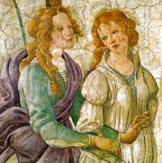 ❤ - SANDRO BOTTICELLI ( 1445 - 1510) - Venus and the Graces offering gifts to a young girl (detail). Fresco. Musée du Louvre, Paris, France.