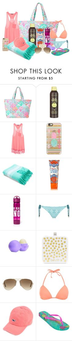 """""""what's in my beach bag"""" by kendrajc ❤ liked on Polyvore featuring Lilly Pulitzer, Sun Bum, Victoria's Secret, Casetify, Topshop, Eos, BaubleBar, Ray-Ban, IPANEMA and women's clothing"""